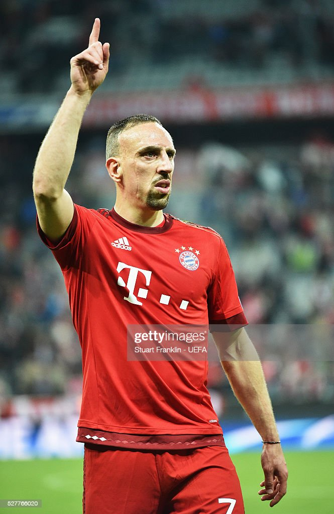 Franck Rib��ry of Muenchen points during the UEFA Champions League Semi Final second leg match between FC Bayern Muenchen and Club Atletico de Madrid at the Allianz Arena on May 03, 2016 in Munich, Bavaria.