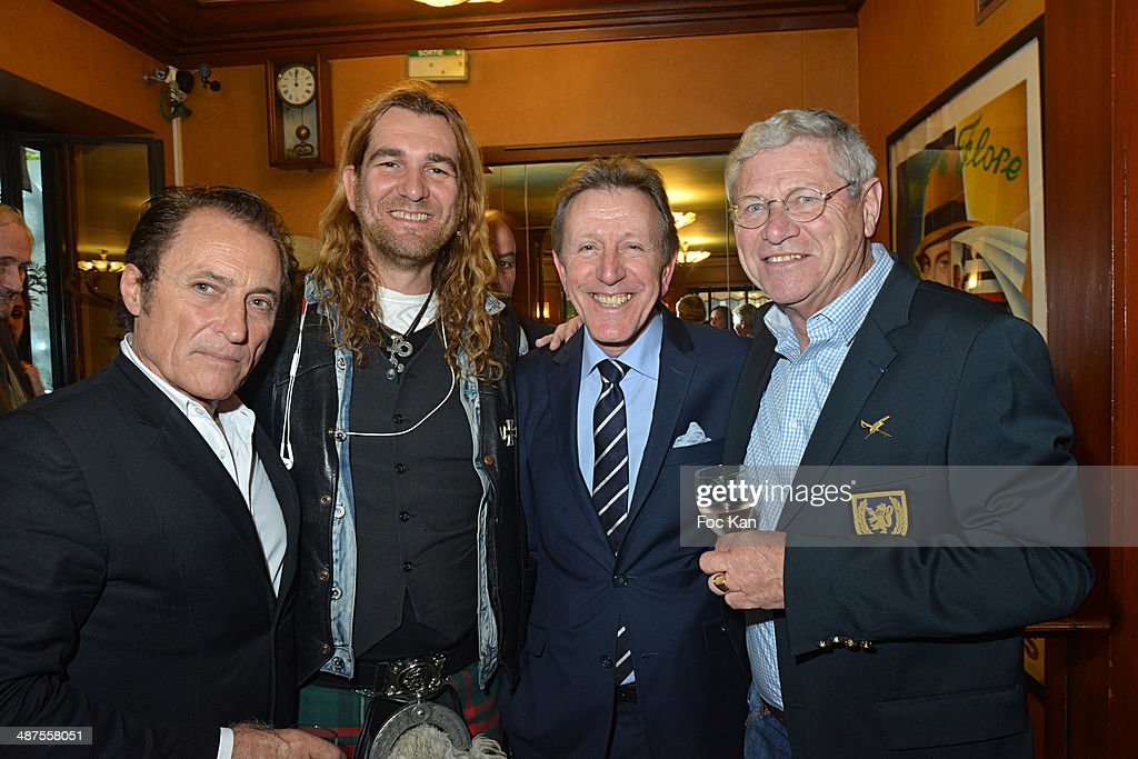 Franck Ros, Jarl Ale de Basseville, Francis Boussard and Jean de Dieuleveult attend the Francis Boussard's and Nadine Carpentier's : Private Cocktail At Cafe de Flore on April 30, 2014 in Paris, France.