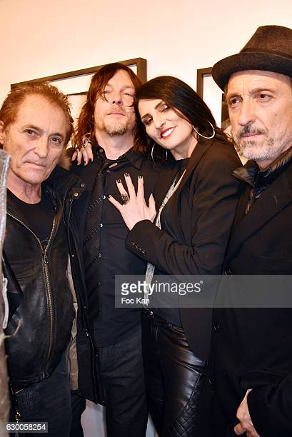 Franck Ros Norman Reedus Sylvie Ortega Munoz and Gil Ros attend 'Norman Reedus' Photo Exhibition around his book 'The Sun's Coming Up Like a Big Bald...