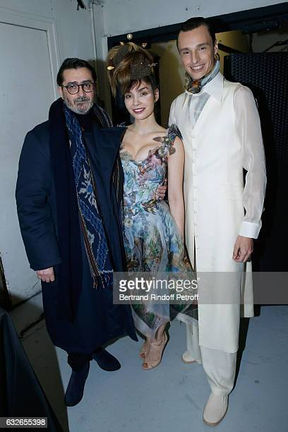 Franck Sorbier supportof the Collection actress Alix Benezech and Model pose Backstage after the Franck Sorbier Haute Couture Spring Summer 2017 show...