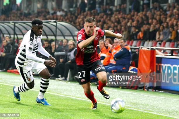 Franck Tabanou of Guingamp and Faitout Maouassa of Rennes during the Ligue 1 match between EA Guingamp and Stade Rennais at Stade du Roudourou on...