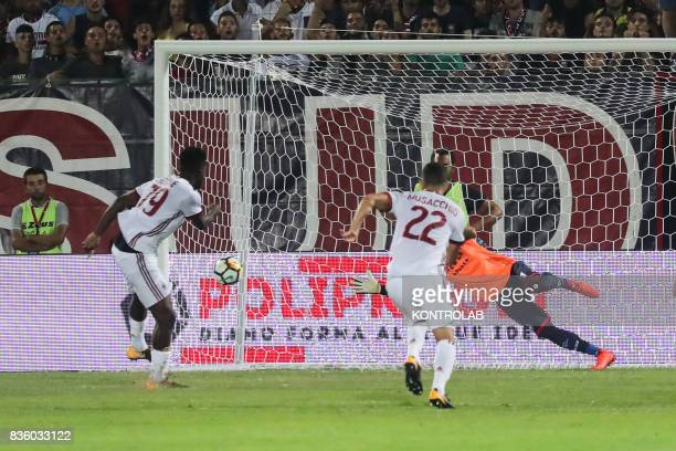 Franck Yannick Kessié Milan midfielder scored the goal from penalty during Serie A match between AC Milan and FC Crotone Milan won 30
