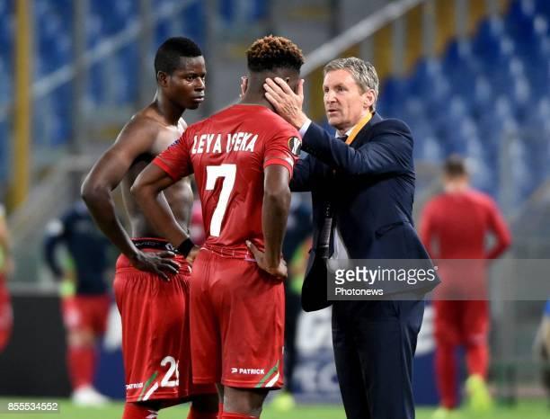 Francky Dury head coach of SV Zulte Waregem and Idrissa Doumbia midfielder of SV Zulte Waregem and Aaron Leya Iseka forward of SV Zulte Waregem...