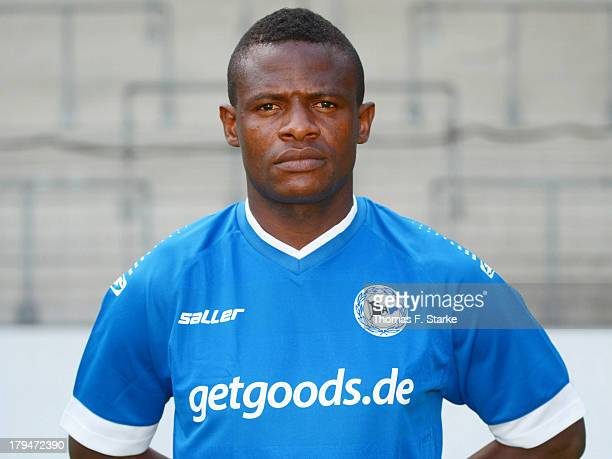 Francky Sembolo poses during the Second Bundesliga team presentation of Arminia Bielefeld at Schueco Arena on September 4 2013 in Bielefeld Germany