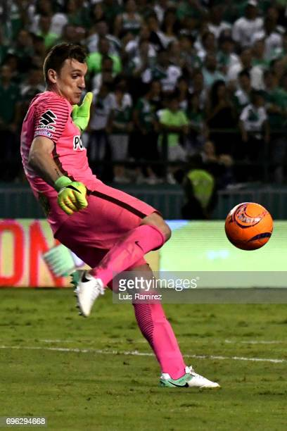 Franco Armani goalkeeper of Atletico Nacional kicks the ball during the Final first leg match between Deportivo Cali and Atletico Nacional as part of...