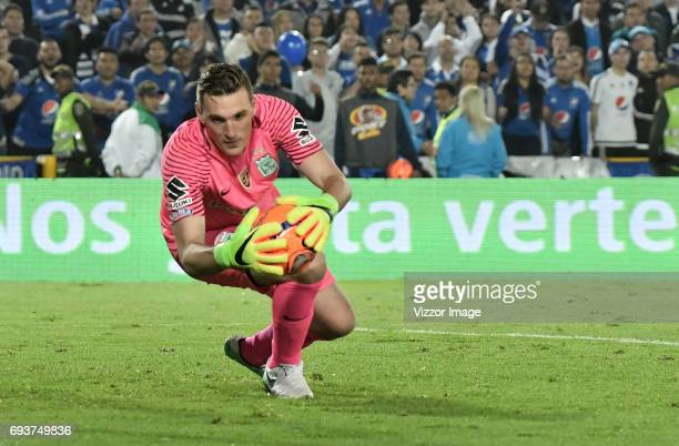 Franco Armani goalkeeper of Atletico Nacional makes a save during the Semi Finals first leg match between Millonarios and Atletico Nacional as part...