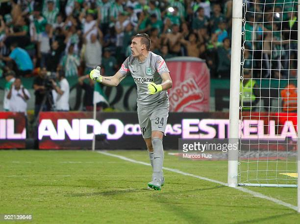 Franco Armani of Nacional celebrates during a second leg final match between Atletico Nacional and Atletico Junior as part of Liga Aguila II 2015 at...