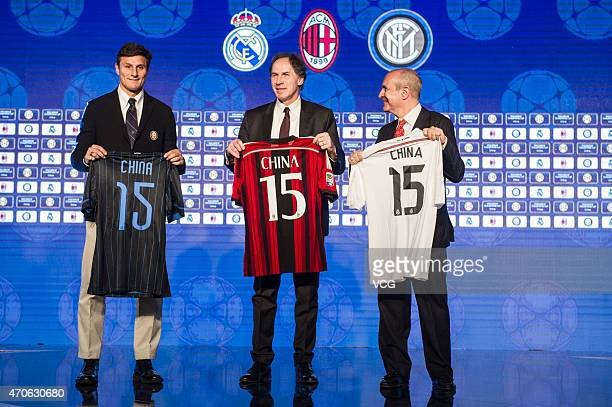 Franco Baresi and Javier Zanetti attend a press conference for announcing the International Champions Cup's expansion into China at Grand Hyatt...