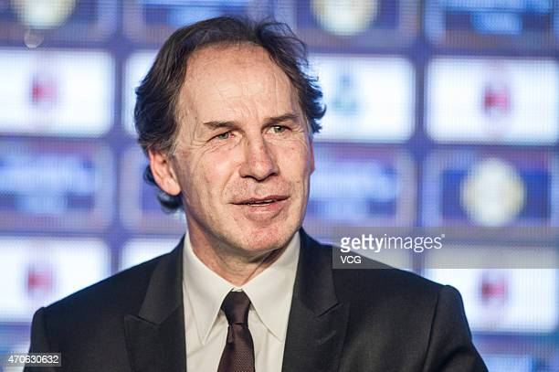 Franco Baresi attends a press conference for announcing the International Champions Cup's expansion into China at Grand Hyatt Beijing on April 22...
