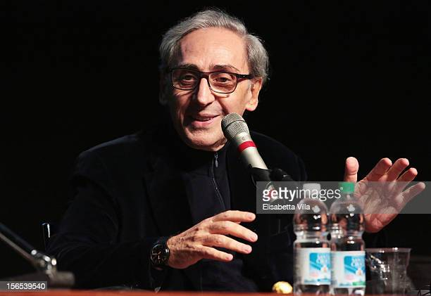 Franco Battiato attends the 'Il Viaggio Della Signorina Vila' Press Conference during the 7th Rome Film Festival at the Auditorium Parco Della Musica...