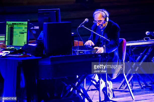 Franco Battiato performs on stage at Palau De La Musica on March 12 2015 in Barcelona Spain