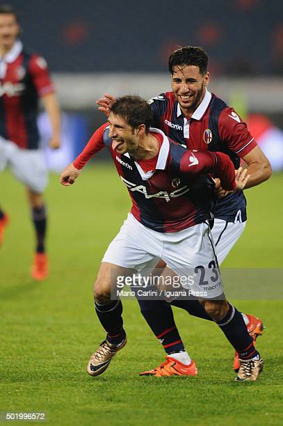 Franco Brienza of Bologna FC celebrates after scoring his team's first goal during the Serie A match between Bologna FC and Empoli FC at Stadio...
