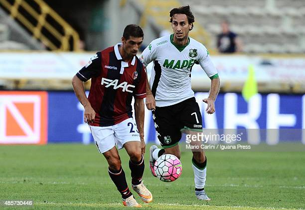 FRanco Brienza of Bologna FC in action against Simone Missiroli of US Sassuolo Calcio during the Serie A match between Bologna FC and US Sassuolo...
