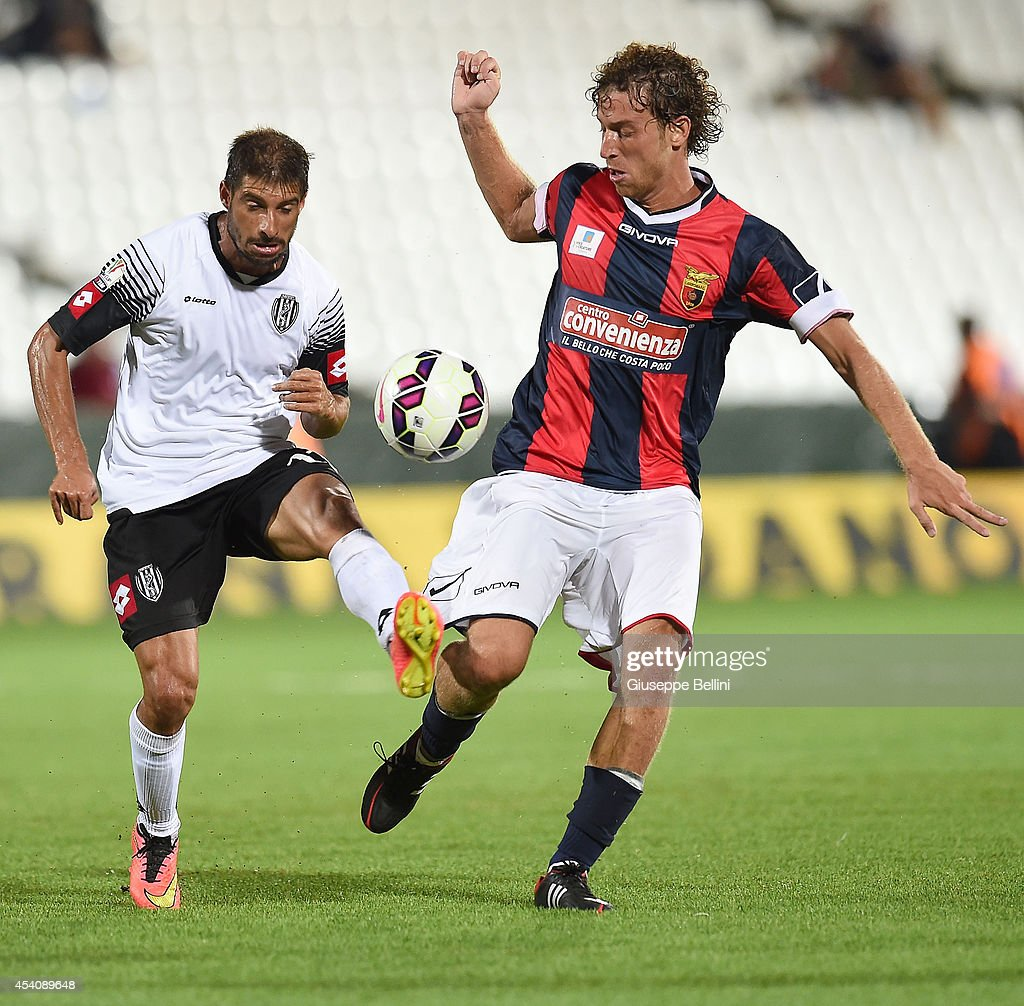 Franco Brienza of Cesena and Francesco Marano of Casertana in action during the TIM Cup match between AC Cesena and Casertana at Dino Manuzzi Stadium on August 24, 2014 in Cesena, Italy.