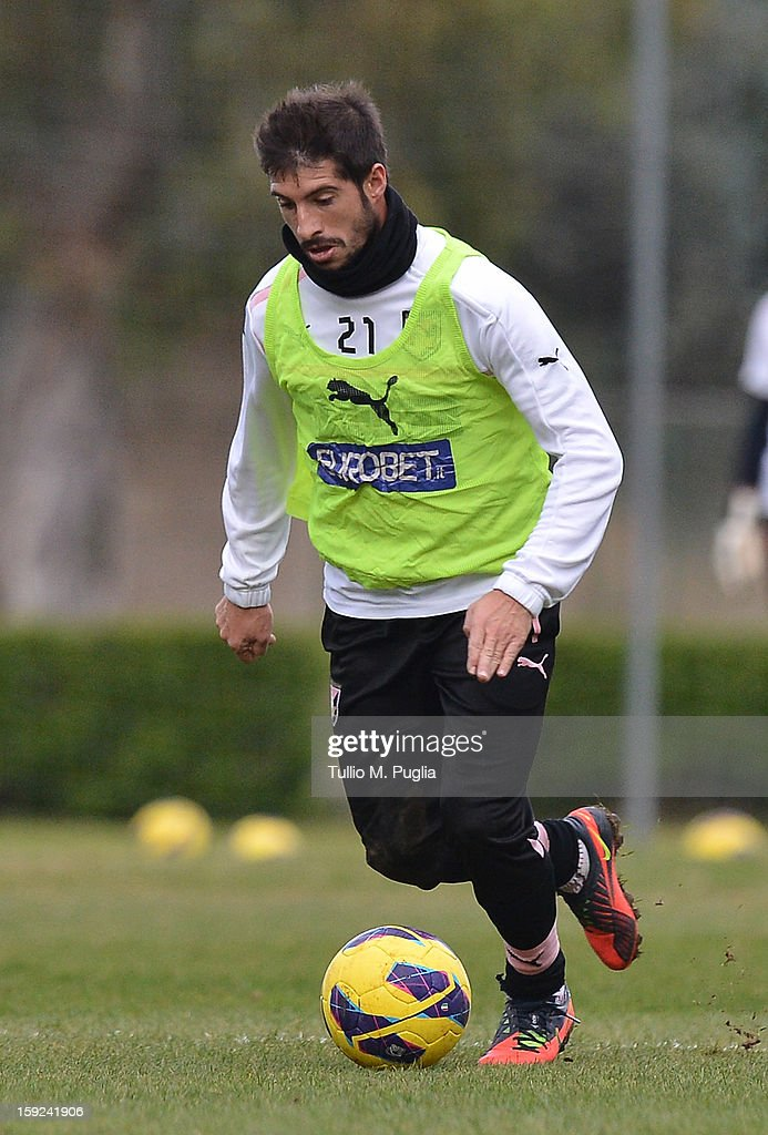 Franco Brienza of Palermo in action during a training session at Tenente Carmelo Onorato Sports Center on January 10, 2013 in Palermo, Italy.