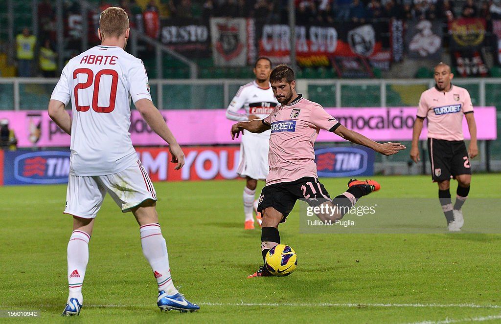 Franco Brienza of Palermo scores his team's second goal during the Serie A match between US Citta di Palermo and AC Milan at Stadio Renzo Barbera on October 30, 2012 in Palermo, Italy.