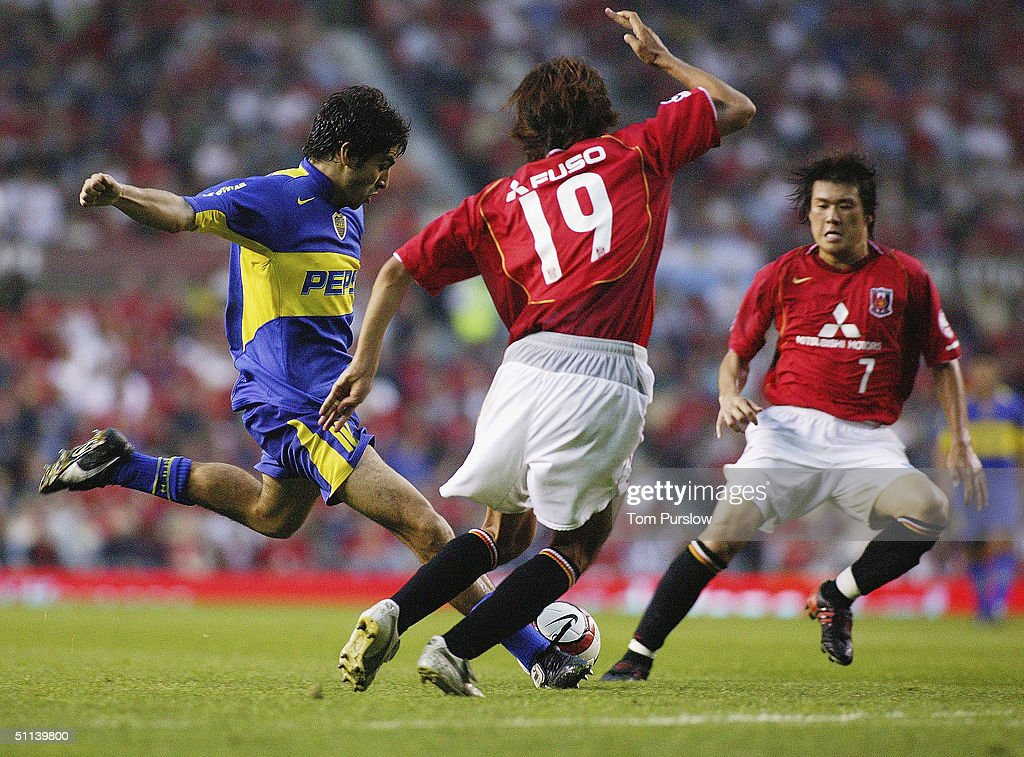 Franco Cangele of Boca Juniors scores the fourth goal during the Vodafone Cup preseason match between Urawa Red Diamonds and Boca Juniors at Old...