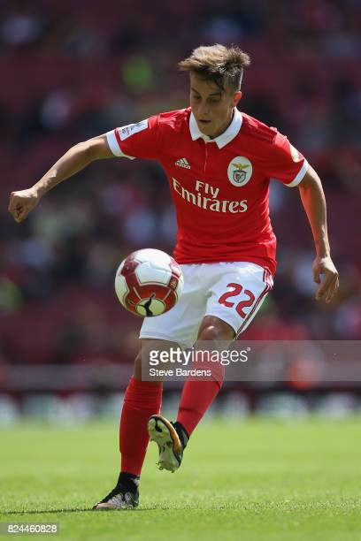 Franco Cervi of SL Benfica in action during the Emirates Cup match between RB Leipzig and SL Benfica at Emirates Stadium on July 30 2017 in London...