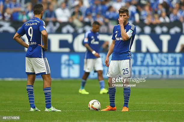 Franco Di Santo and KlaasJan Huntelaar of Schalke look dejected afte rthe second goal of Koeln during the Bundesliga match between FC Schalke 04 and...