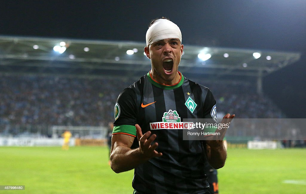 Franco di Santo of Bremen celebrates after scoring his team's second goal during the DFB Cup second round match between Chemnitzer FC and Werder...