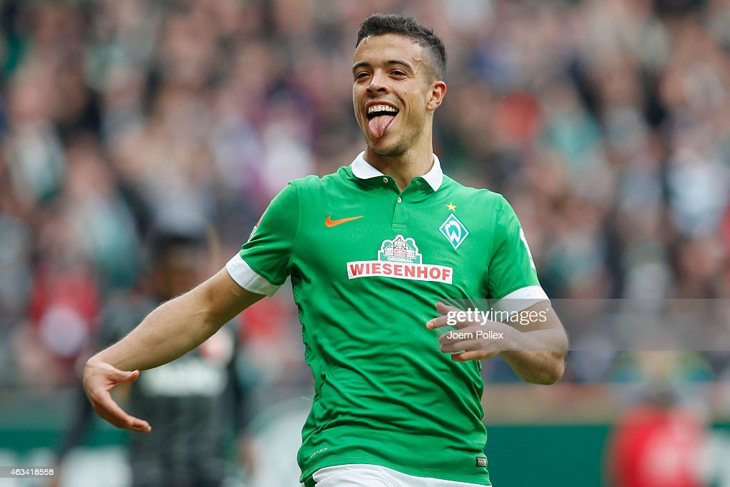Franco Di Santo of Bremen celebrates after scoring his team's second goal during the Bundesliga match between SV Werder Bremen and FC Augsburg at Weserstadion on February 14, 2015 in Bremen, Germany.