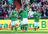 Franco di Santo of Bremen celebrates after scoring the equalizing goal during the Bundesliga match between SV Werder Bremen and SC Freiburg at...