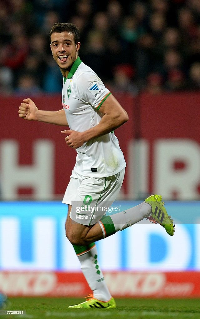 Franco di Santo of Bremen celebrates after scoring the opening goal during the Bundesliga match between 1. FC Nuernberg and Werder Bremen at Grundig Stadium on March 8, 2014 in Nuremberg, Germany.