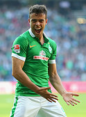 Franco di Santo of Bremen celebrates during the Bundesliga match between SV Werder Bremen and SC Freiburg at Weserstadion on October 4 2014 in Bremen...