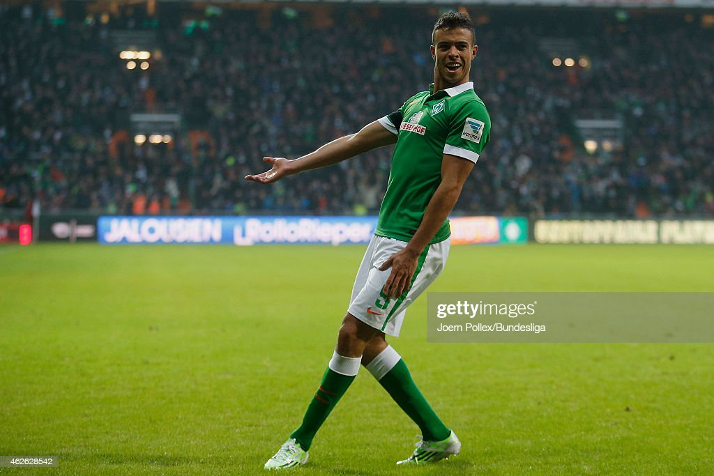 Franco di Santo of Bremen celebrates his team's first goal during the Bundesliga match between Werder Bremen and Hertha BSC Berlin at Weserstadion on February 1, 2015 in Bremen, Germany.