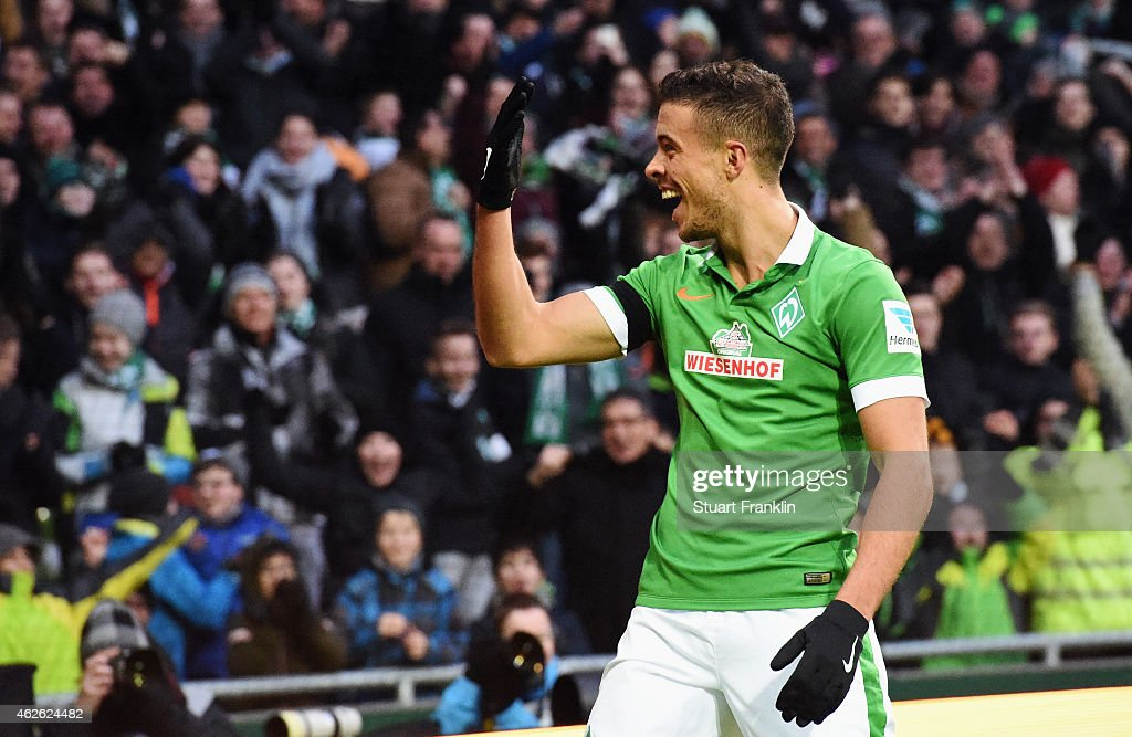 Franco di Santo of Bremen celebrates his team's second goal during the Bundesliga match between SV Werder Bremen and Hertha BSC at Weserstadion on February 1, 2015 in Bremen, Germany.