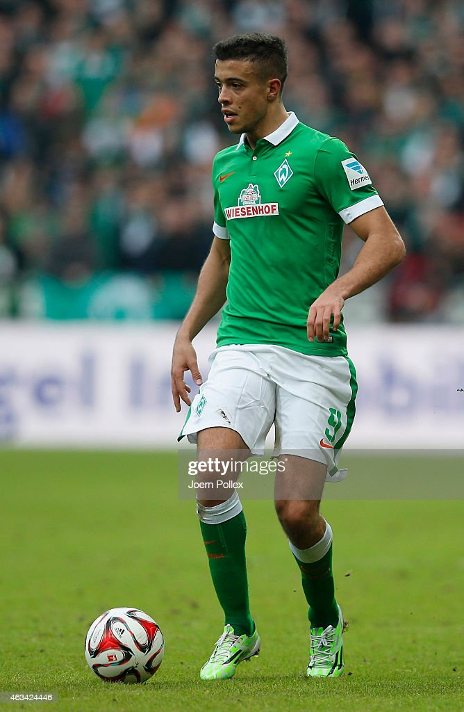 Franco Di Santo of Bremen controls the ball during the Bundesliga match between SV Werder Bremen and FC Augsburg at Weserstadion on February 14, 2015 in Bremen, Germany.