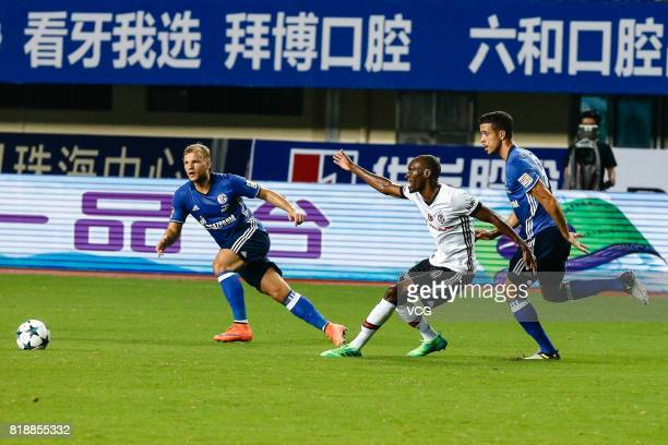 Franco Di Santo of FC Schalke 04 and Atiba Hutchinson of Besiktas comepte for the ball during the 2017 International soccer match between Schalke 04...