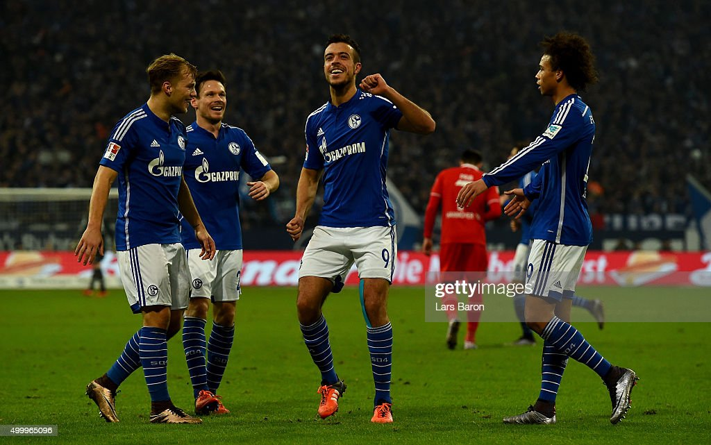 Franco di Santo of Schalke celebrates after scoring his teams third goal during the Bundesliga match between FC Schalke 04 and Hannover 96 at Veltins-Arena on December 4, 2015 in Gelsenkirchen, Germany.