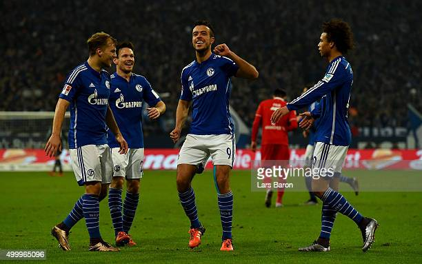 Franco di Santo of Schalke celebrates after scoring his teams third goal during the Bundesliga match between FC Schalke 04 and Hannover 96 at...
