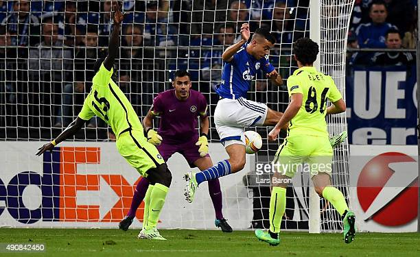 Franco di Santo of Schalke scores his teams first goal during the UEFA Europa League Group K match between FC Schalke 04 and Asteras Tripolis FC at...