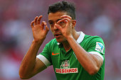 Franco Di Santo of Werder Bremen reacts during the Bundesliga match between FC Bayern Muenchen and SV Werder Bremen at Allianz Arena on October 18...