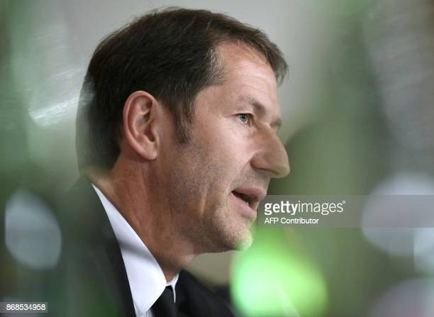 Franco Foda designated German head coach of the Austrian national football team gives a press conference on October 31 2017 in Vienna Austria Austria...