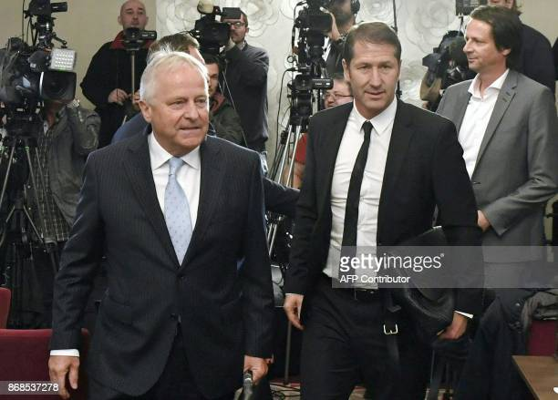 Franco Foda designated German head coach of the Austrian national football team and OeFBPresident Leo Windtner arrive to give a press conference on...