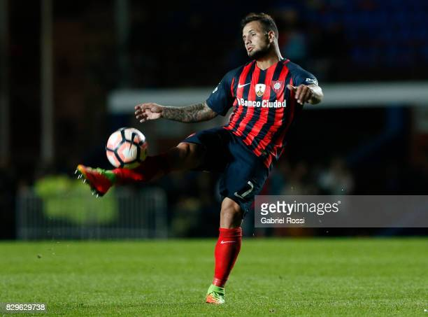 Franco Gabriel Mussis of San Lorenzo kicks the ball during a second leg match between San Lorenzo and Emelec as part of round of 16 of Copa CONMEBOL...