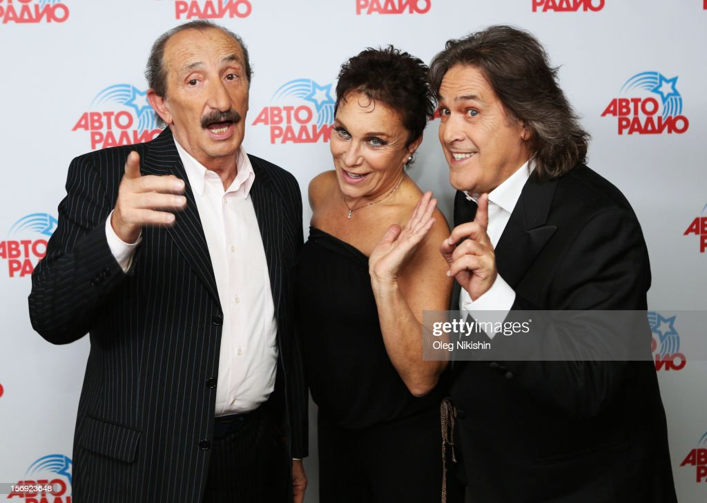 Franco Gatti, Angela Brambati, Angelo Sotgiu from Italian pop music group 'Ricchi e Poveri' attend the 'Disco Of The 80th Rock & Dance' in Olympisky on November 24, 2012 in Moscow, Russia.