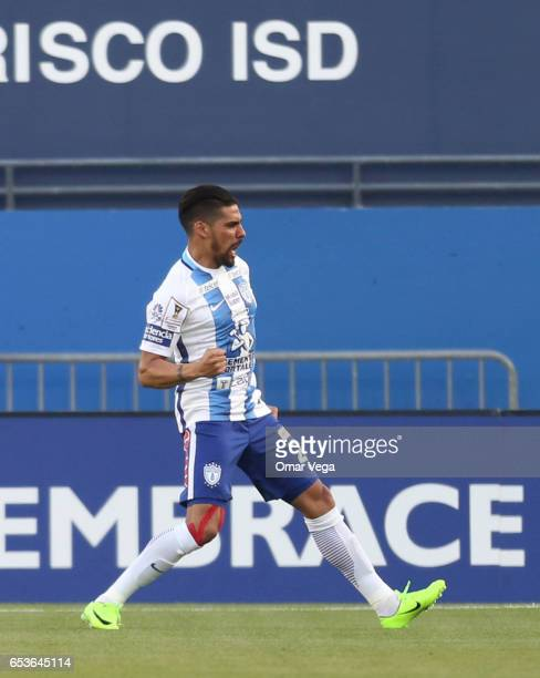 Franco Jara of Pachuca celebrates after scoring the first goal of his team during the semifinals first leg match between FC Dallas and Pachuca as...