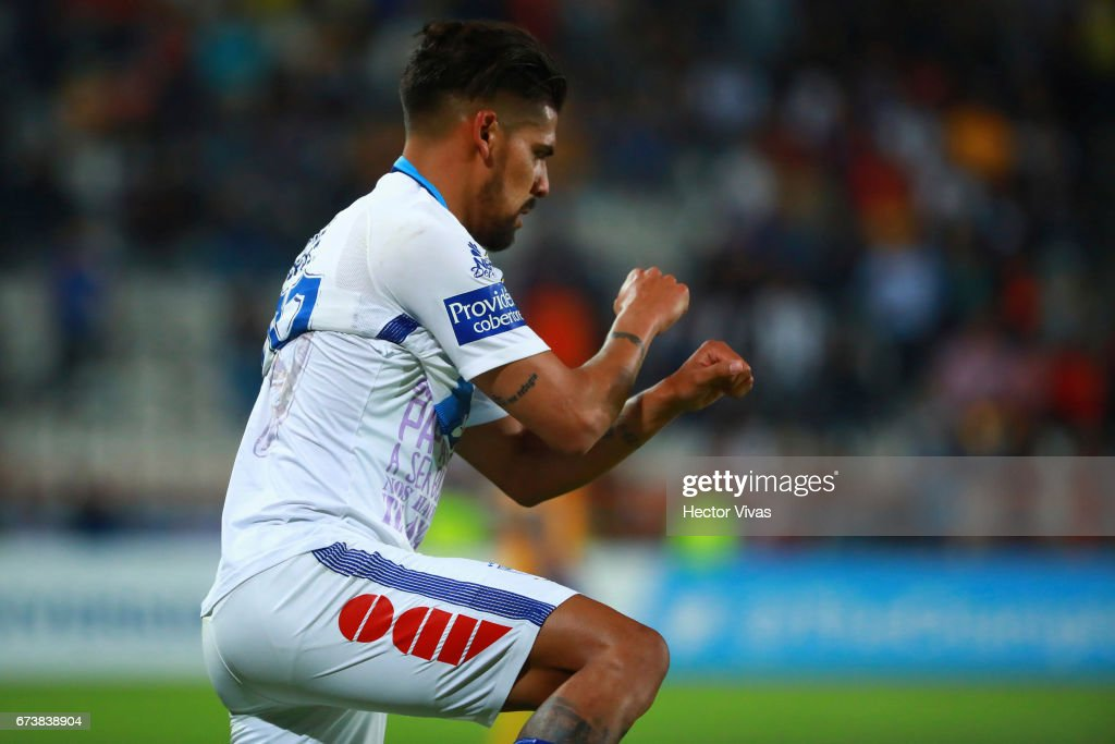Franco Jara of Pachuca celebrates after scoring the first goal of his team during the Final second leg match between Pachuca and Tigres UANL as part of the CONCACAF Champions League 2016/17 at Hidalgo Stadium on April 26, 2017 in Monterrey, Mexico.
