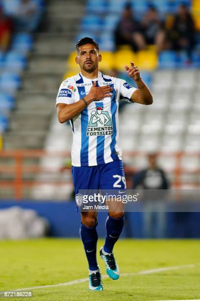 Franco Jara of Pachuca celebrates after scoring the first goal of his team during the quarter final match between Pachuca and Tijuana as part of the...