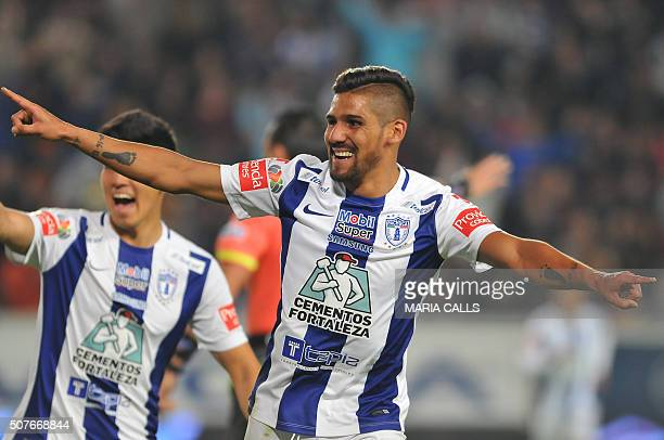 Franco Jara of Pachuca celebrates his goal against Monterrey during the Mexican Clausura 2016 Tournament at the Hidalgo stadium on January 30 in...