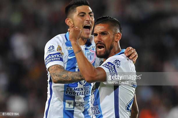 Franco Jara of Pachuca celebrates his goal against Santos during the Mexican Clausura 2016 Tournament football match at Hidalgo stadium on October 15...