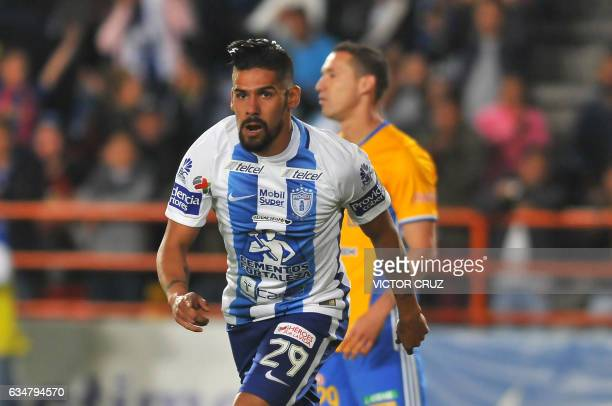 Franco Jara of Pachuca celebrates his goal against Tigres during their Mexican Clausura 2017 Tournament football match at Hidalgo stadium on February...
