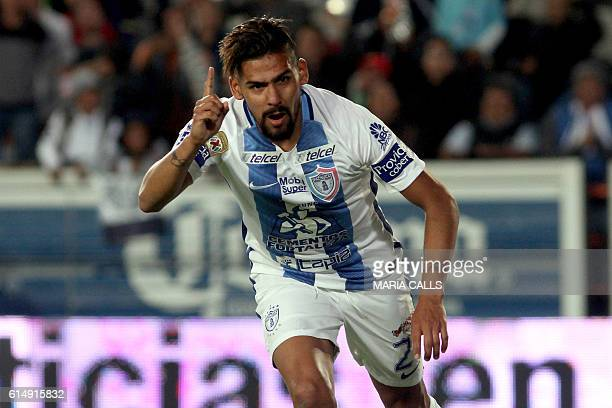 Franco Jara of Pachuca celebrates his goal againts Santos during their Mexican Clausura 2016 Tournament football match at Hidalgo stadium on October...