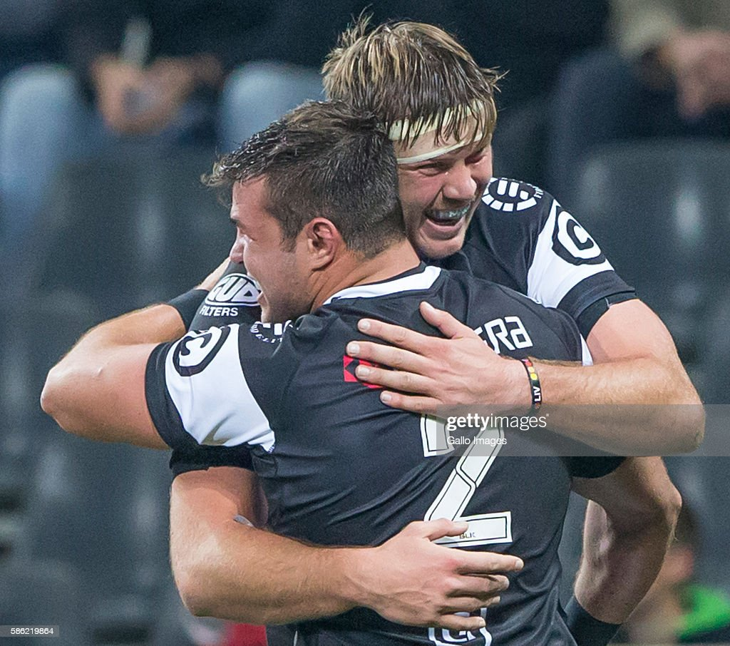 Franco Marais and Stephan Lewies of the Cell C Sharks during the Currie Cup match between Steval Pumas and Cell C Sharks XV at Mbombela Stadium on...