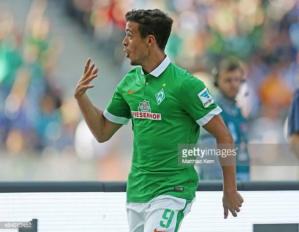 Franco Matias Di Santo of Bremen jubilates after scoring the fourth goal during the Bundesliga match between Hertha BSC and SV Werder Bremen at...