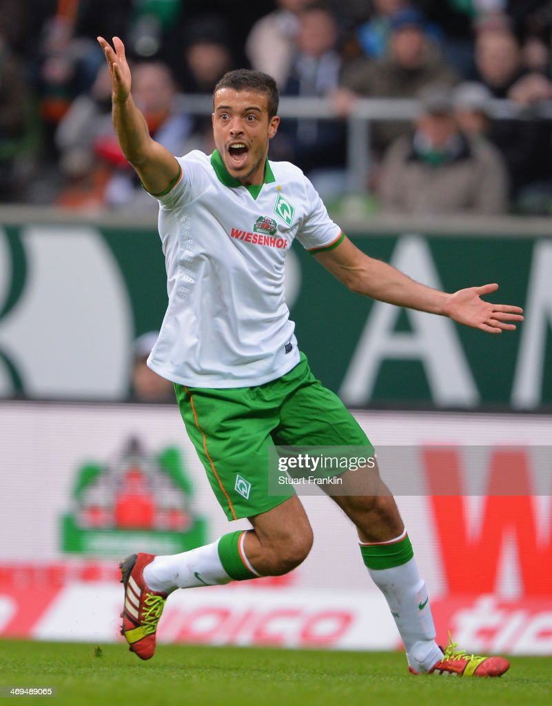 Franco Matias Di Santo of Bremen reacts during the Bundesliga match between Werder Bremen and Borussia Moenchengladbach at Weserstadion on February 15, 2014 in Bremen, Germany.